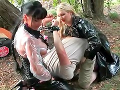 Heavy abuse of male slave outdoors