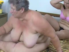 Fat granny and fat milf lesbian dildo sex