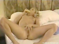 Cute chick and her dildo have sex