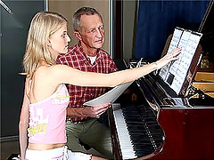 Cute Blonde Teen Gets Fucked Doggy Style By Her Old Piano Teacher