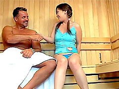 Sexy Asian Teen Gets Her Hairy Pussy Fucked and Jizzed On In a Sauna