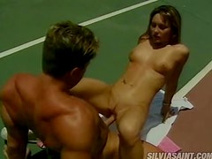 Tennis Court With A Kinky Blonde And A Perverted Dude