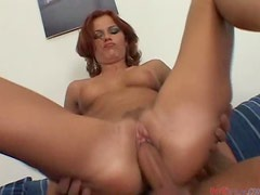 Nasty redhead chick Jasmina has anal sex and gets her ass filled with cum