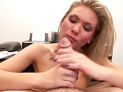 Aubrey Adams drools over this hard throbbing cock