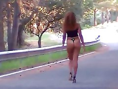 sexy arab beurette walking outside in g-string