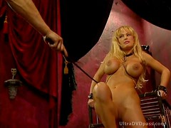 Captive Blonde Babe Gets Tied Up and Whipped By BDSM Master