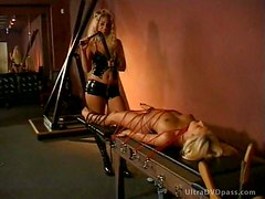 Kinky Blonde DD Dominant Ties Up and Pours Hot Wax on Her Lesbian Disciple
