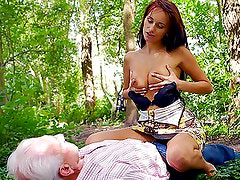 Lucky Old Fart Fucks a Spectacular Redhead Babe Outdoors