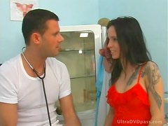 Hot Brunette Nurse Gets Fucked and Swallows Hot Cum Wearing Sexy Stockings