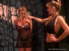 Sadistic Blonde Dominatrix Ties Up a Busty Submissive Lesbian