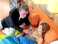 Hot Brunette Gets Her Pussy Fucked and Her Ass Jizzed On By an Old Man