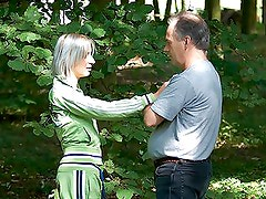 Old Man Fucks a Blonde Beauty Outdoors In The Forest
