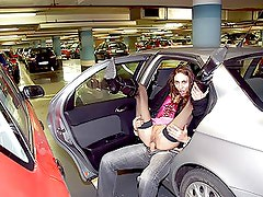 Slutty Voyeur Brunette Gets Fucked and Facialized In a Parking Garage