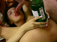 Drunk Amateur Babe Sucks Cock With a Bottle In Her Fucked Pussy