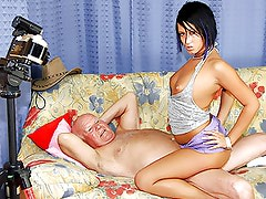 Horny Grandpa Fucks and Facializes a Drop Dead Gorgeous Brunette Babe