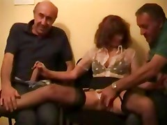 3 old coots take turns fucking young babe