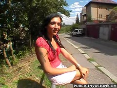 Busty Brunette Babe Gives Blowjob Outdoors To Get a Ride Home