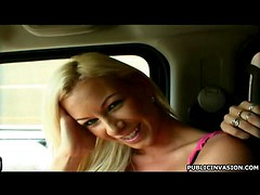 Busty Blonde Babe Shoots Reality Porn Video in a Hummer