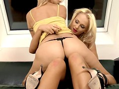 Two experienced blondies are giving their pussies to each other