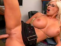 Marvelous milf in glasses and gold panties fucked