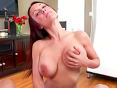 Busty brunette J Love is sucking big penis