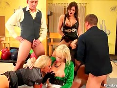 Clothed girls in a fuck and piss orgy