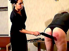 Painful spanking for sub male ass