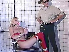 Trooper ties up blonde girl for punishment