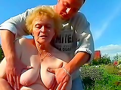 Fat granny fucked in the grass
