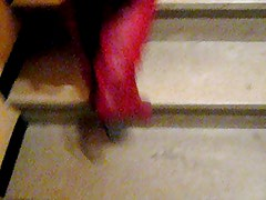 upskirt with slip in stairs