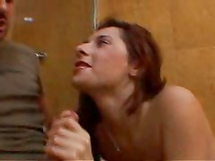 Amateur Wife Sucking Off her man in the Bathroom