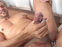 Hot transsexual babe with moster cock fucks a guy in his ass