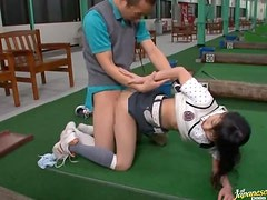 Lewd golf instructor Natsumi Horiguchi seduces a man and fucks him