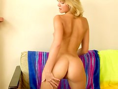 Naughty blonde plays with a vibrator before going to bed