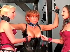 Dungeon fun with three sub girls