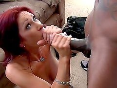 Redhead milf in lingerie interracial sex