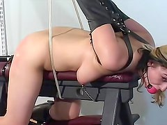 Bound and gagged girl paddled and vibrated