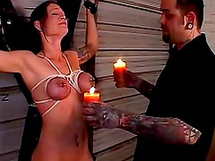 Hot wax on purple tied up titties