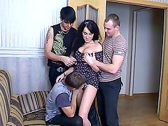 Sexy Brunette Teen Gets Fucked in a Gangbang