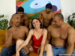 Katie Lane gets Fucked By Three Guys and Sucks Tons of Cum