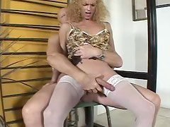 Hot blonde transsexual babe getting fucked in the ass