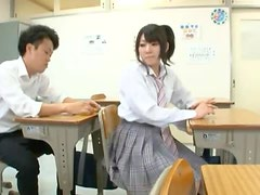 Hot and cute Japanese schoolgirl is having fun with friend