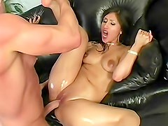Baby oil makes babe even sexier for fuck