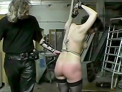 Couple dominates sub girl in basement