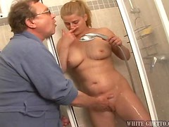 Busty blonde Rosses plays dirty games with an elderly dude