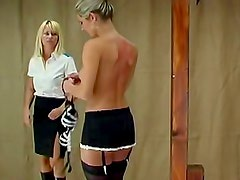 Hot blonde flogged on her smooth back