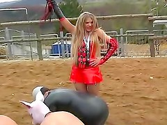 Femdom pony play on the farm