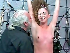 Bound and fondled in his BDSM dungeon
