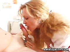 Milf amateur nurse sucks and fucks with cum on ass