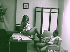 Black couple bangs in accountants office